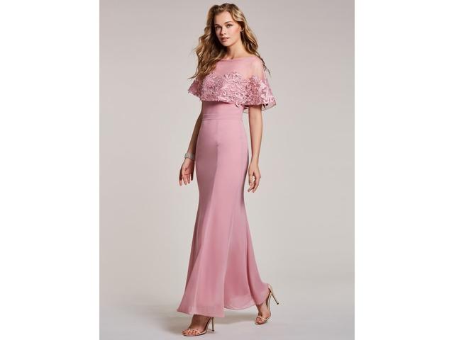 Bateau neck lace appliques mermaid evening dress clothing