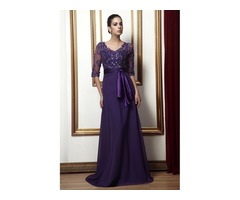 Delicate Appliques A-Line V-Neck Half-Sleeves Sashes Talines Mother of the Bride Dress