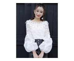 Slash Neck Puff Sleeve Womens Blouse