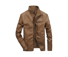 Tidebuy Stand Collar Plain Mens Leather Jacket