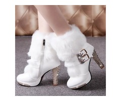 PU Rhinestone Buckle Side Zipper Womens Boots