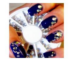 5 Sizes White Multicolor Acrylic Rhinestone Nail Decoration Wheel