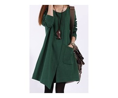 Asym Long Sleeve Pocket Womens Casual Dress