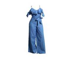 Denim Plain Strap Womens Jumpsuit