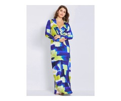 Floral Imprint Plus Size Womens Maxi Dress