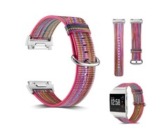 Fitbit Ionic Smart Watch Band Replacement,Rainbow Pattern Genuine Leather Watch Strap