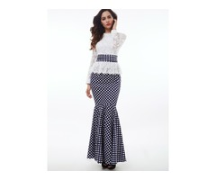 Lace Patchwork Polka Dots Mermaid Womens Maxi Dress