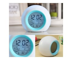 Digital LED 7 Color Changing Alarm Clock Thermometer Nature Sound