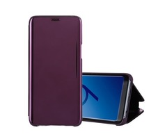 For Galaxy S 9 + Purple Electroplating Mirror Horizontal Flip Leather Case with Holder