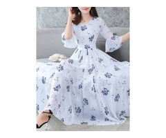 Tidebuy Floral Half Sleeves Volant Womens Maxi Dress