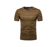 Tidebuy V-Neck Stripe Mens Short Sleeve T-Shirt