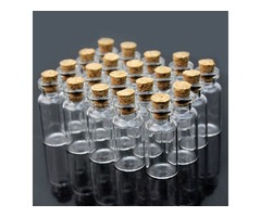 20Pcs 10x18mm Mini Clear Wishing Message Glass Bottles Vials With Cork