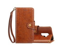For Galaxy S9 + Brown Crazy Horse Leather Case with Holder, Wallet & Card Slots