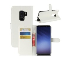 For Galaxy S9 + White Litchi Flip Leather Case with Holder, Wallet & Card Slots