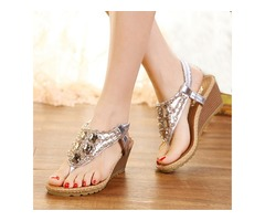 PU Rhinestone Thong Crystal Wedge Sandals