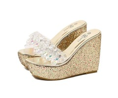 Rhinestone Slip-On Multi Color Womens Wedge Shoes