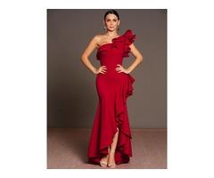 Asymmetric Oblique Collar Ruffle Womens Maxi Dress