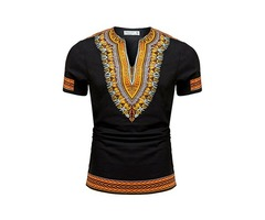 Tidebuy African Dashiki Print Mens V-Neck T-Shirt