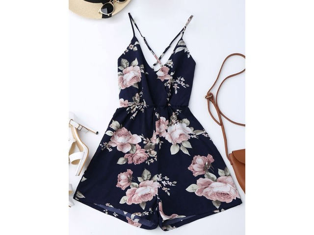 Floral Print Strap Backless Womens Rompers | free-classifieds-usa.com