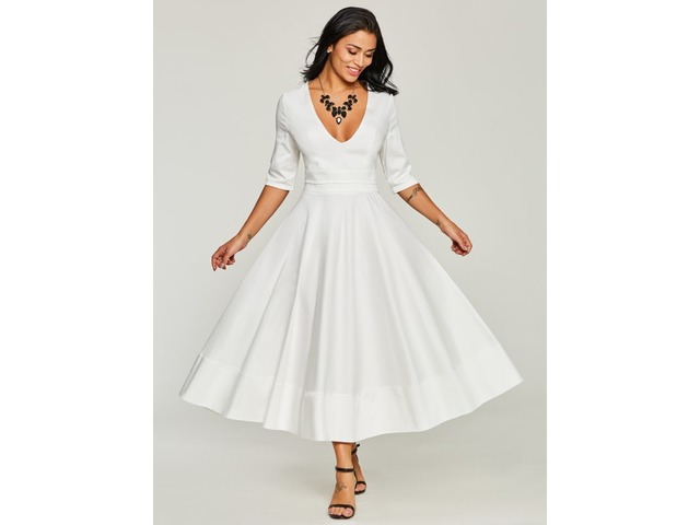 Tidebuy White V Neck Half Sleeve Womens Maxi Dress | free-classifieds-usa.com