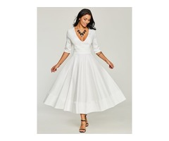 Tidebuy White V Neck Half Sleeve Womens Maxi Dress