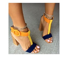 Suede T-Shaped Buckle Block Heel Womens Sandals