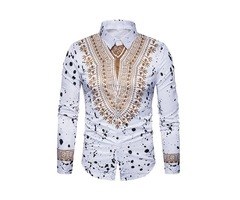 Tidebuy Lapel African Dashiki Print Mens Long Sleeve Shirt