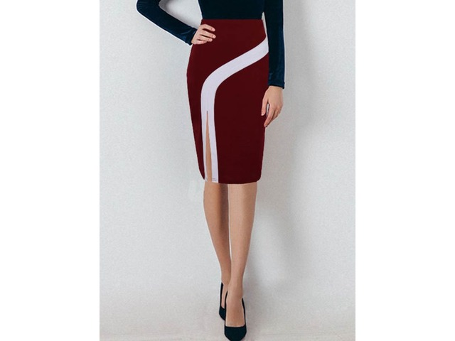 High-Waist Knee-Length Bodycon Color Block Womens Skirt | free-classifieds-usa.com
