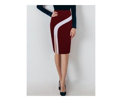 High-Waist Knee-Length Bodycon Color Block Womens Skirt