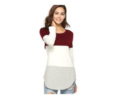 Color Block Mid-Length Womens T-shirt