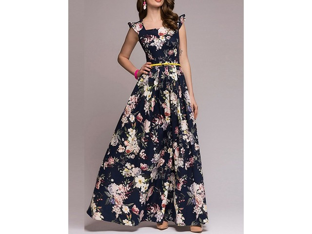 Tidebuy Floral Cap Sleeves Womens Dress | free-classifieds-usa.com