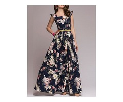 Tidebuy Floral Cap Sleeves Womens Dress