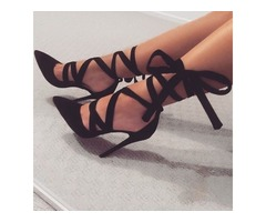 Sexy Black Ankle Ribbon Lace Up Stiletto Heels | free-classifieds-usa.com