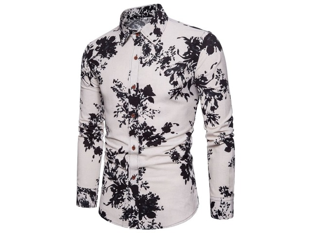 Tidebuy Floral Print Lapel Cotton Mens Casual Shirt | free-classifieds-usa.com