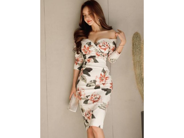 Tidebuy Off Shoulder White Printing Womens Bodycon Dress | free-classifieds-usa.com