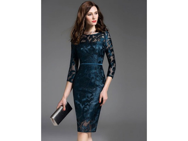 Multi-colored Round Neck Lace Bodycon Dress | free-classifieds-usa.com