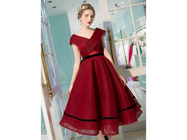 Unique A-Line V-Neck Cap Sleeves Bowknot Pick-Ups Tea-length Prom Dress | free-classifieds-usa.com