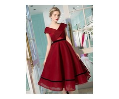 Unique A-Line V-Neck Cap Sleeves Bowknot Pick-Ups Tea-length Prom Dress
