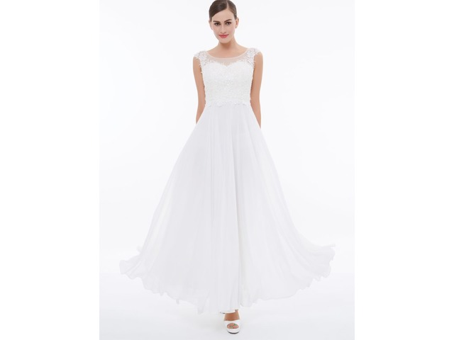 Cap Sleeves Appliques White Evening Dress | free-classifieds-usa.com