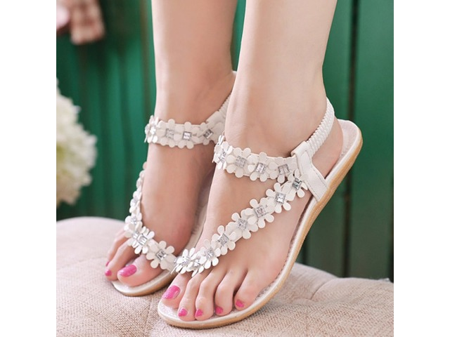 PU Floral Rhinestone Elastic Band Womens Flat Sandals | free-classifieds-usa.com