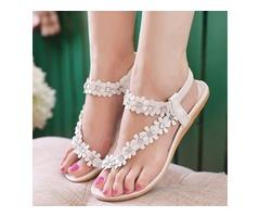 PU Floral Rhinestone Elastic Band Womens Flat Sandals