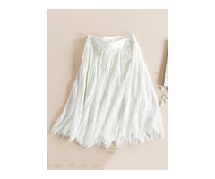 Lace Pleated Knee-Length Womens Skirt