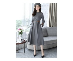 Plaid Long Sleeve Pleated Womens Skater Dress