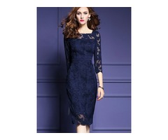 Pure Color Round Neck Long Sleeve Womens Lace Dress