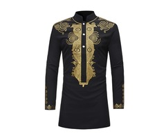 Tidebuy African Dashiki Print Stand Collar Mid-Length Mens Shirt