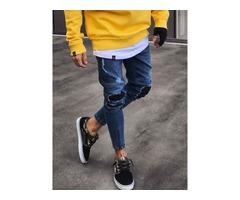 Tidebuy Worn Hole Stylish Mens Skinny Jeans