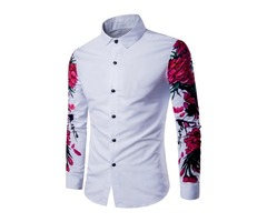 Flower Printed Lapel Floral Plain Slim Mens Shirt