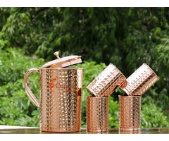 Shop for Hammered Pure Copper Pitcher and Four Tumblers Set