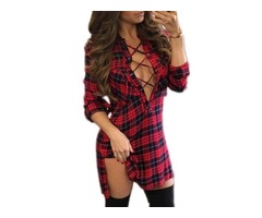 Tidebuy V-Neck Plaid Womens Bodycon Dress