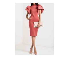 Stand Collar Ruffle Sleeve Back Hollow Womens Bodycon Dress